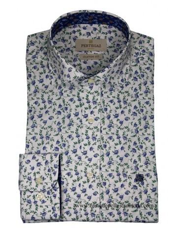 Pertegaz camisa vestir estampado floral verde