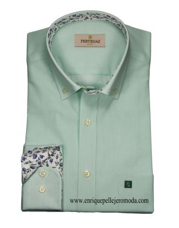 Pertegaz camisa verde mar manga larga