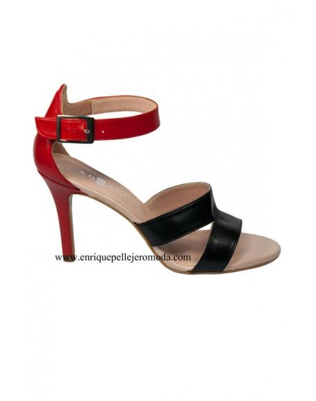 Angari zapatos bicolor rojo negro