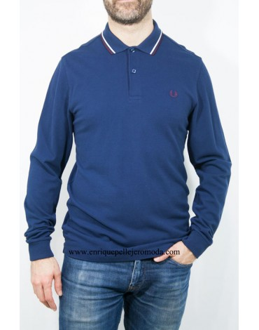 Fred Perry polo azul manga larga