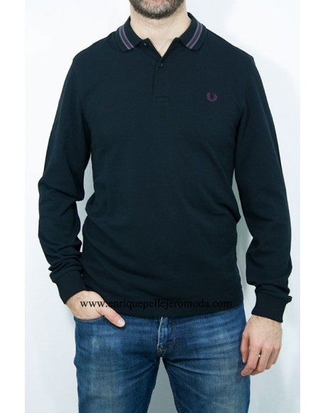 Fred Perry polo negro manga larga