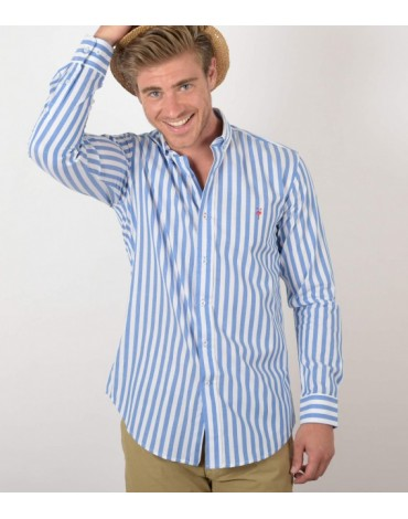 El Flamenco camisa azul rayas