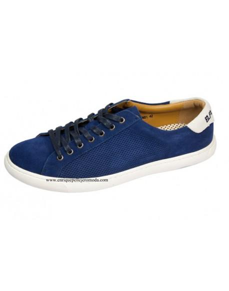 4f6ad75a2ec El Flamenco zapatillas hombre color azul marino perforadas