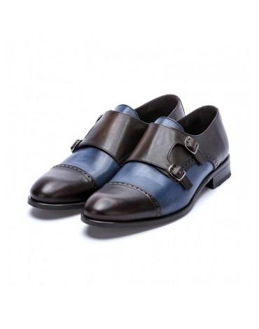 Sergio Serrano zapatos hebilla marrón y azul