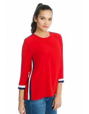 Valecuatro blusa contraste rojo