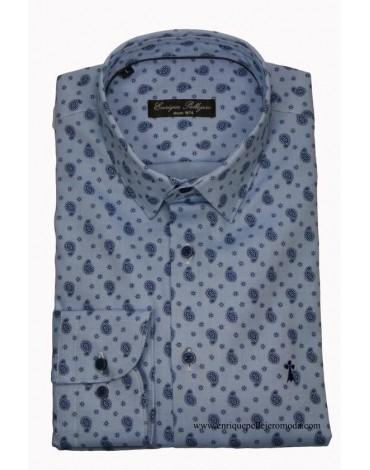 Enrique Pellejero camisa estampado cachemir celeste