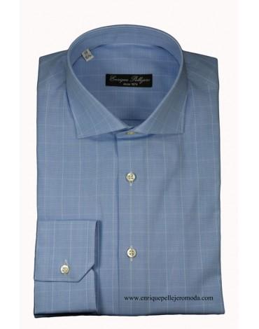 Camisa celeste cuadro Principe Gales Enrique Pellejero
