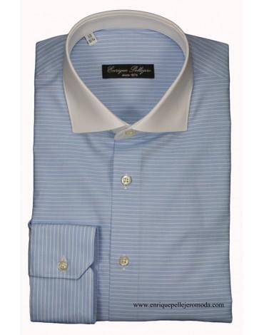 Camisa vestir celeste rayas cuello blanco Enrique Pellejero