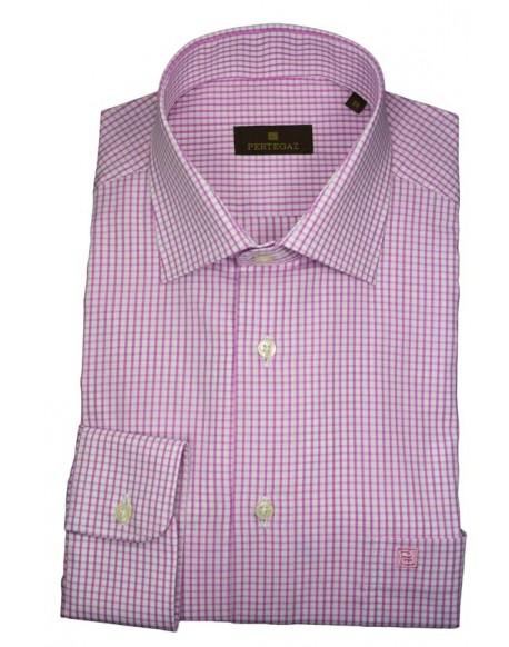Pertegaz camisa vestir cuadros rosa