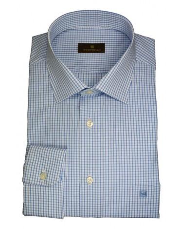 Pertegaz camisa vestir cuadros azul