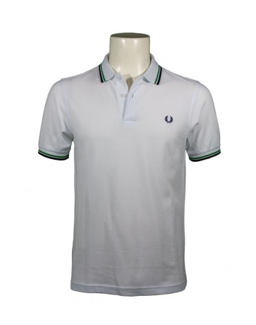 Fred Perry polo blanco rayas