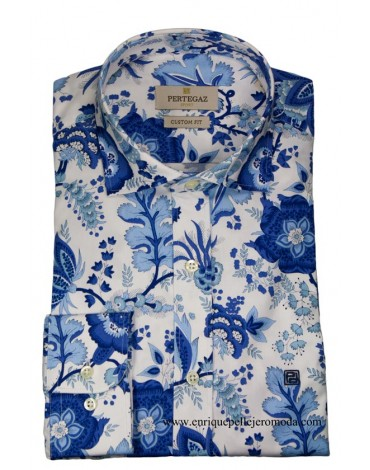 Pertegaz camisa azul estampado floral