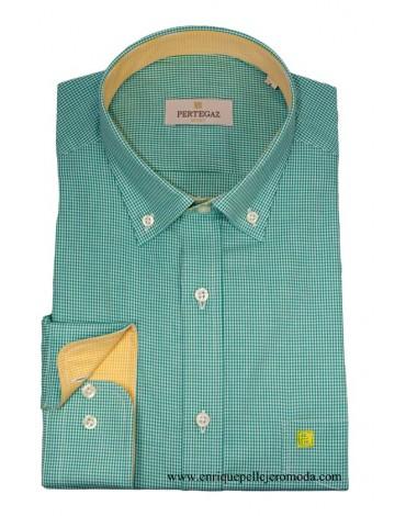 Pertegaz camisa verde cuadro Vichy