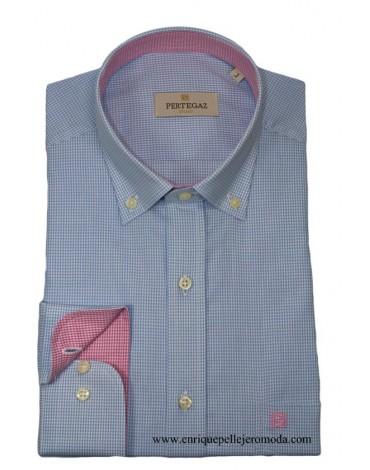 Pertegaz camisa celeste cuadro Vichy