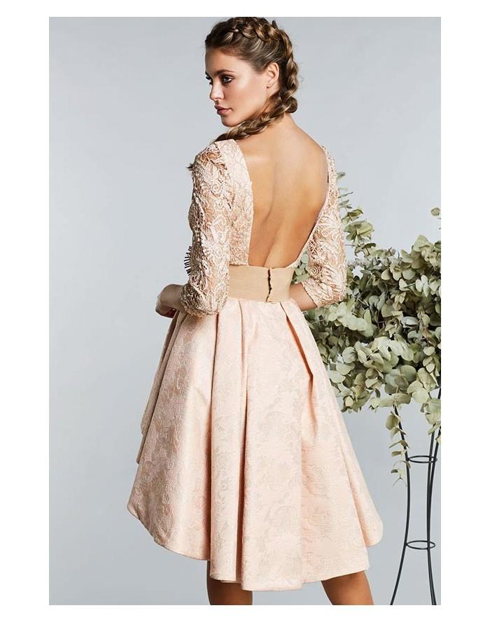 Matilde Cano vestido nude guipur Compra online vestido de fiesta 7eb3c71ffd45