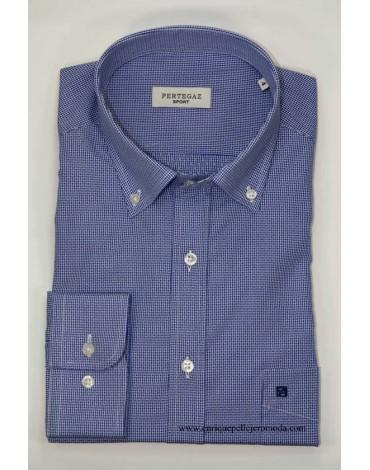 Pertegaz camisa azul cuadros con dibujo
