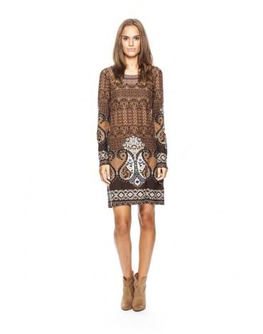 MdM vestido punto estampado marrón