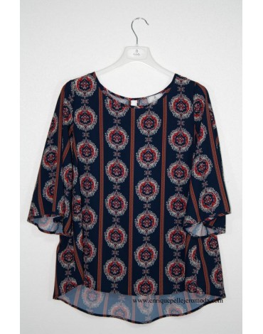 El Caballo printed navy blouse
