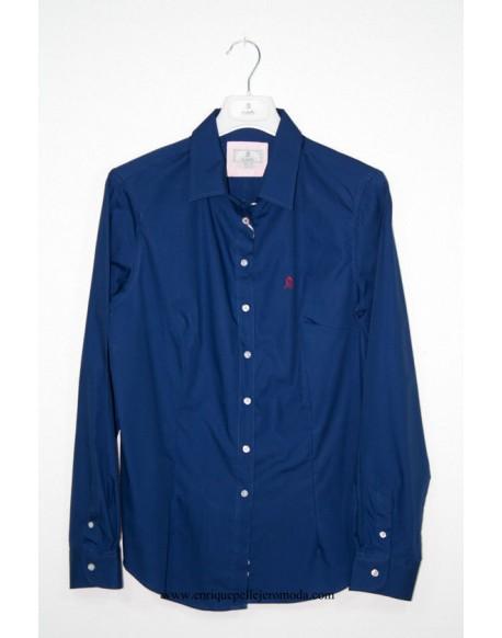 El Caballo camisa azul marino con topitos