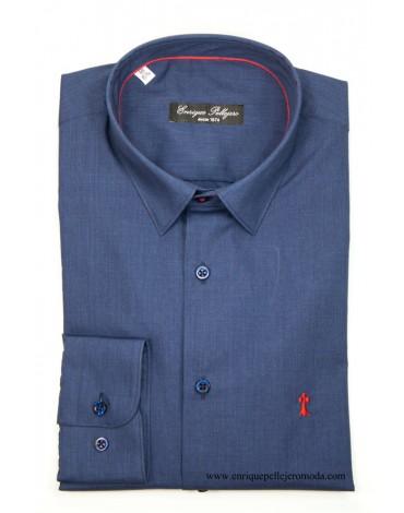 Camisa azul marino topito rojo Enrique Pellejero