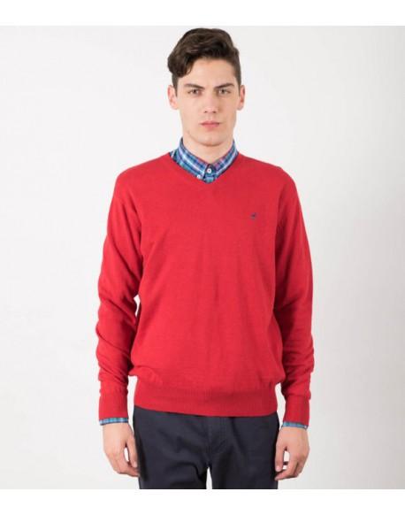El Flamenco jersey rojo cuello pico