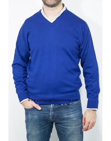 Pertegaz jersey azulón cuello pico
