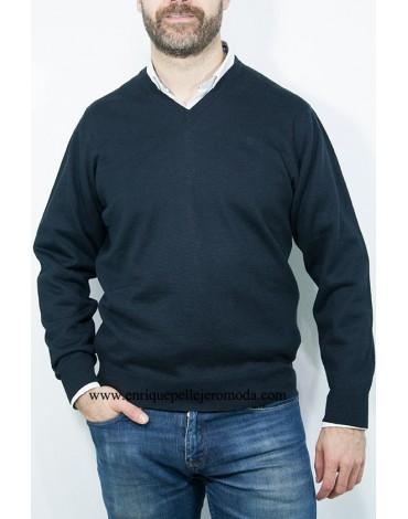 Pertegaz jersey azul marino cuello pico