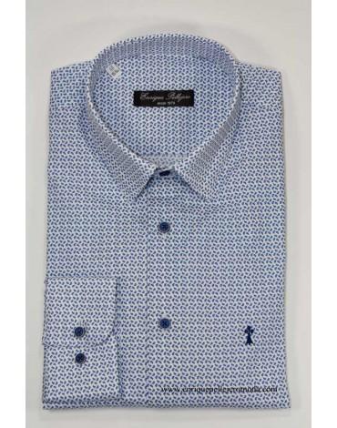 Camisa azul dibujo lagrima Enrique Pellejero