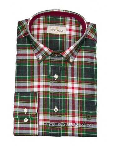 Pertegaz camisa cuadro tartán verde