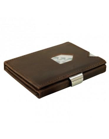 Exentri cartera piel nobuk marrón con protección RFID