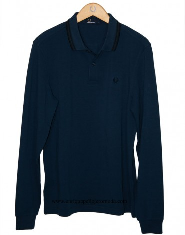 Fred Perry polo long sleeve color blue