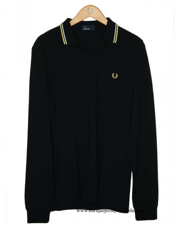Fred Perry polo manga larga negro
