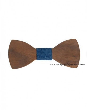 Denim wood bow tie