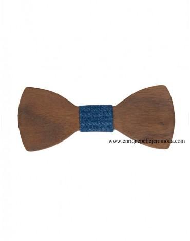 Denim wood bow tie