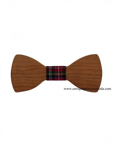Red tartan wood bow tie