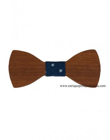 Wooden bow tie denim topos