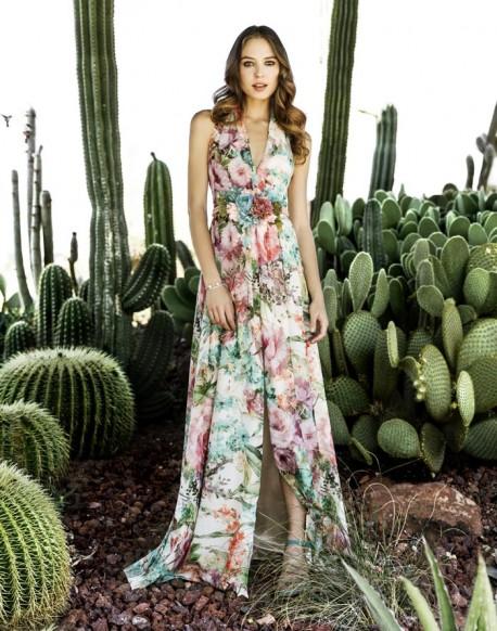 Laura Bernal vestido largo estampado floral