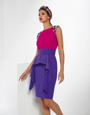 Matilde Cano vestido crepé bicolor