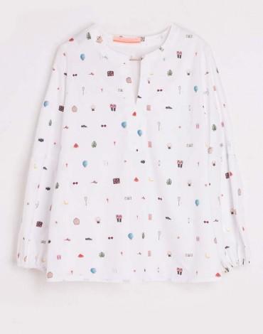 Vilagallo blusa blanca print