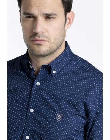 Valecuatro camisa azul marino estampada