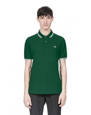 Fred Perry polo verde manga corta
