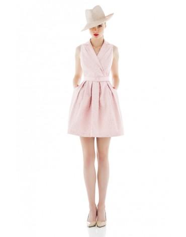 Laura Bernal vestido rosa lurex
