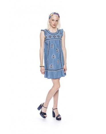 MdM denim dress with embroidery