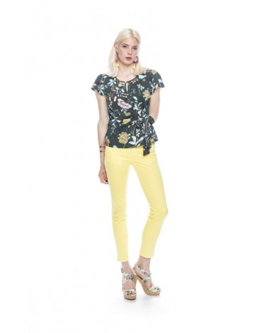 MdM printed blouse with lacing