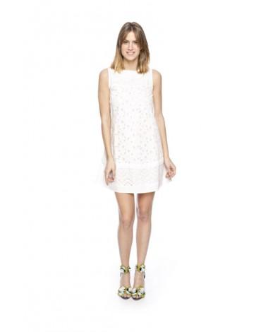 Mdm perforated cotton trapeze dress
