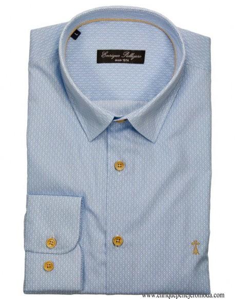 Camisa celeste rombos Enrique Pellejero
