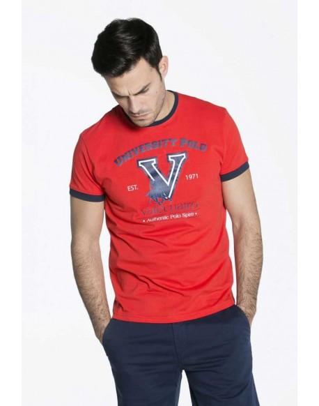 Valecuatro camiseta estampada contrastes rojo