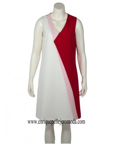 Laura Bernal vestido tricolor