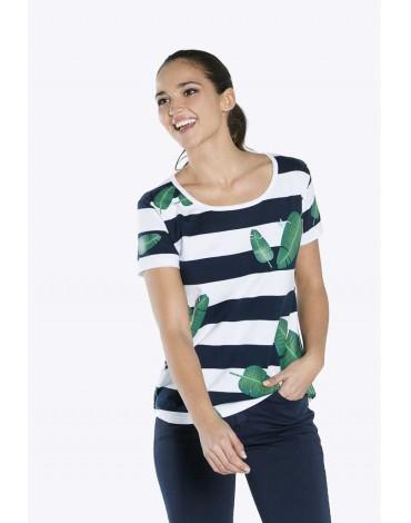 Valecuatro camiseta estampado tropical blanco