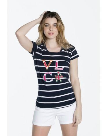 Valecuatro camiseta estampada azul marino